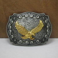 Wholesale Western Women Belts - BuckleHome western belt Buckle with flying eagle with pewter and gold finish FP-03523 with continous stock free shipping