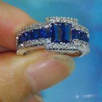 Wholesale Sapphire Gold Filled - Luxury Size 9 10 11 Brand Jewelry 10kt white gold filled Blue Sapphire Gemstones Men Wedding Ring patty gift with box