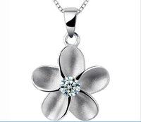 Wholesale 925 Silver Plum Blossom - 925 Sterling Silver Crystal Alice Plum Blossom Elegant Necklace Pendant for Women Fashion Jewelry For Wedding Dress Sets Party