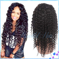 Wholesale Long Blonde Wigs Curls - 100% unprocessed brazilian virgin hair kinky curl full lace wig with baby hair curl lace front human hair wigs for black women