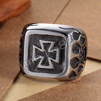 Mens 361L Stainless Steel Black Silver Fire Flame Iron Cross Anel Jóias Tamanho 7-13