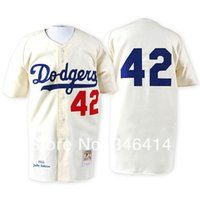 Wholesale 2017 Brooklyn Dodgers Authentic Jackie Robinson Throwback Home white blue cream black grey camo Baseball Jersey Embroidery Logos