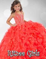 bandaj çocuğu toptan satış-2017 İlkbahar Coral Balo Elbisesi Bebek çocuğu Çiçek Kız Elbiseleri Halter Boyunbağı Boncuklu Bodice Sayfalı Elbise Ritzee Kids RG6349 Bandaj Geri
