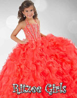 Wholesale Ritzee Girls Toddler Pageant Dresses - 2017 Spring Coral Ball Gown Toddler child Flower Girls Dresses Halter Neckline Beaded Bodice Pageant Dress Ritzee Kids RG6349 Bandage Back