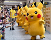 süslü kıyafet kostümleri yetişkinler toptan satış-Profesyonel Yetişkin Boyutu Pikachu Maskot Kostüm karnaval anime film karakteri Klasik karikatür Yetişkin Karakter Fantezi Elbise Karikatür Suit DS1