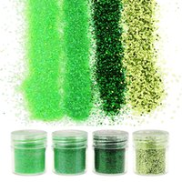 Wholesale- 4 Bottiglia / Set Green Glitter of Gems 1Box 10g Paillettes Polvere Glitter Polish Nail Art Decoration BG045-BG048