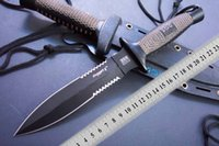 Wholesale wood see saw - Hot sale Low price SOG D25 hunting knife half Saw Blade Fixed Blade Outdoor Tactical Survival Knife Outdoor gear Best gift