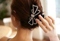 Wholesale Big Hair Clamps - Korean hair around the diamond Big butterfly knot clamp headdress cute lady necessary clip 20pcs lot DZTG008