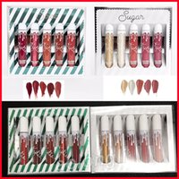 Wholesale Spices Set - in stock Kylie Jenner Sugar lip set Spice 5pcs set Matte Shimmer Lipstick Kylie holiday Lip Gloss 5 colors Kylie Cosmetics DHL shipping