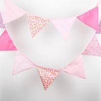 Wholesale Garlands Vintage - 3.2M of 12 Flags Cotton Fabric Banners Personality Wedding Bunting Pink Tone Vintage Style Party Birthday Baby Shower Garland Decoration