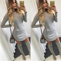 Wholesale Womens Cute Dresses - S-XL women hooded front pockets dress 2015 autumn style grey bodycon dress night club wear full sleeve cute womens dresses XD241 FG1511