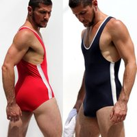 Wholesale Mens Sexy Apparel - Wholesale-JJSOX Man Sexy Tight Wrestling Singlet Mens One Piece Bodywear Weight lifting Gym Teddis Tights Exotic Apparel Body Building