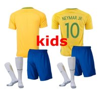 Wholesale Brazil Football Kits - thai quality 2017 brazil soccer Jersey kids kits 2016 brazil NEYMAR JR OSCAR D.COSTA DAVID LUIZ national team football shirts