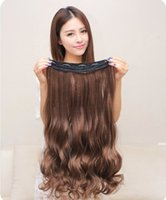 Wholesale Top Piece Clip Extensions - One Piece Clip In Human Hair Extensions,Natural Wave Curly Brazilian Remy Five Clips-on Hair Weaves,26'' Top-up Brazilian Virgin Clip Ins