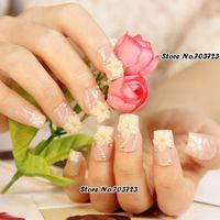 Wholesale Glitter Pre Design Nail Tips - Wholesale-Beige Acrylic Pre-design False Nail Art Tips Glitters Shiny White Lily 24pcs