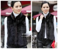 Wholesale Ladies Mink Vests - New Womens Faux Mink Fur Vest White black Vest Top Coat Ladies Winter V Neck Sleeveless Faux Fur Outwear Waistcoat Jacket Coat WT76