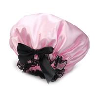 Wholesale Universal Ribbon - Wholesale- Pink Ribbon Waterproof Elastic Band Lace Bow Hat Hair Bath Shower Bouffant Cap