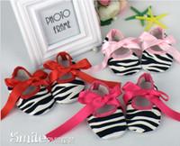 Wholesale Infant Ribbon Shoe Laces - Infant Girls Cotton Ribbon Bowknot Soft Bottom Chevon Flower Prewalker Shoes Leopard Zebra ribbiton Shoe