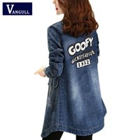 Wholesale Spring Women S Down Jacket - Wholesale- S-4XL Spring Turn Down Collar Slim Jeans Women Tops Letter Print Long Sleeve Ladies Plus Size Denim Jacket Women Coat Outerwear
