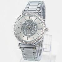 pedrería caliente al por mayor-2019 Venta Caliente de Plata Reloj de Oro de Las Mujeres de Lujo Venta Caliente Relojes de Pulsera Regalos Para Niña Reloj de Cuarzo Rhinestone de Acero Inoxidable Completo