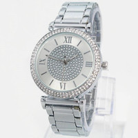 Wholesale Hot Gifts For Women - Hot Sale Silver Gold Watch Women Luxury Brand Hot Sale Ladies Wristwatches Gifts For Girl Full Stainless Steel Rhinestone Quartz Watch