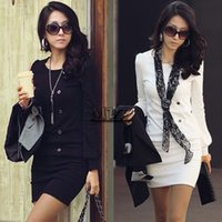 Wholesale Working Dress Fashion Korea - 2014 New Fashion Korea Women Round Neck Long Sleeve OL Mini Dress Five Button Top Blouse#7 41