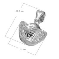 Wholesale Silver Ingot Pendant - CZ Micro Pave Brass Pendant Gold Ingot Platinum Plated DIY Bracelet Charm Micro Inlay Cubic Zirconia 11.5x11mm Hole:About 3.7mm