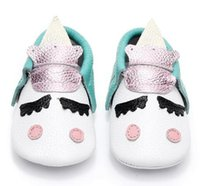 Wholesale Red Moccasin Boots - New Unique style genuine leather newborn baby moccasins christmas gifts baby kids shoes Blush golden angle Unicorn Baby boot