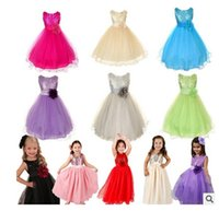 Wholesale Cute Cheap Pageant Dresses - 2016 Sequined Pink Tulle Cheap Flower Girls Dressess for Weddings Cute Square Tea Length Girls Pageant Dresses Little Kids Formal Gowns