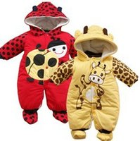 Wholesale Ladybug Jumpsuits - Wholesale-2015-16 cartoon animal style cotton-padded Baby Rompers baby Ladybug and cows warm jumpsuit autumn and winter Baby clothing SS09