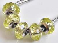 Wholesale Citrine Beads European - MURANO GLASS BEAD LAMPWORK Fit European Charm Bracelet Citrine yellow