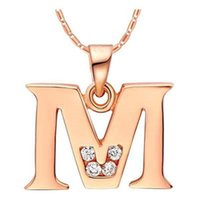 Wholesale P T Z - Letter A B C D E F G H I J K L M N O P Q I S T U V W X Y Z Crystal Jewelry Pendant Necklace Rose Gold Color Gift