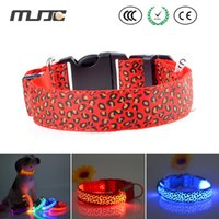 Wholesale Pet Spot - Nylon Leopard Spots Pattern Luminous LED Dog Collar Light Night Flashing Glow Pet Collar Pet Supplies