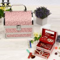 Viaggio di qualità di vendita calda Make up Box con specchio Fashion Makeup Case Beauty Beauty Cosmetic Bag Multi Tiers Lockable Jewelry Box