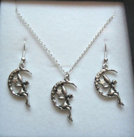 Wholesale Moon Star Earring - Hot ! Jewelry Set , Antique silver *FAIRY SITTING ON CRESCENT MOON STARS* Gift Set Necklace Earrings Jewelry Set (z576)