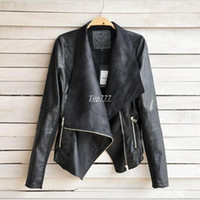 Wholesale Female Faux Leather Jackets - 2016 PU Leather Jacket Women Clothes Faux Turn-Down Collor Female Jackets Womens Slim Coats Plus Size Feminino Mujer Outerwear