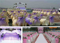 Wholesale Purple Satin Table Runners - A Back Bow Chair Yarn Ribbon The Wedding Cair Bw Organza Chair Sash Bow Satin Table Runner Wedding Anniversary Party Decoration Of Chair