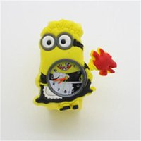 Wholesale Dad 3d Glasses - 3D Eye Despicable Me slap watch minion Precious Dad Children Watches Slap Snap On Silicone Quartz Wrist Watch