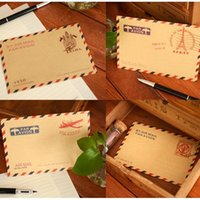 Wholesale Vintage Kraft Envelopes - Wholesale-Vintage Style Brown Kraft Air Mail Envelopes 11x16.2cm 100pcs lot Mix designs