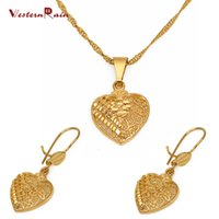Wholesale Necklace Heart Pendant Hollow - Westernrain 2017 Gold 24K Heart Pendant Necklace wedding jewelry Women's 24K Gold Earring Hollow Design Jewelry Set G656
