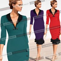 Wholesale Dropshipping Dresses - Dropshipping 2015 Newest Women Half Sleeve Deep V-Neck Button Mermaid Party Dress S-XXL