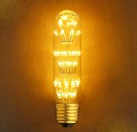 Wholesale Cafe Lights Wholesale - 2200K 110-220V 3W Christmas Light T10 Vintage LED Tungsten Filament Lamp For Cafe Bars Chrismas Tree Decoration