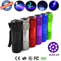 светодиодный фонарик 9led оптовых-Алюминиевый невидимый чернильный маркер 9LED 9 LED ультрафиолетовый ультрафиолетовый мини фонарик