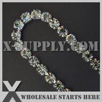 Wholesale Ss28 Rhinestone Chain - (5yards lot) Black Diamond Silver SS28 6mm Single Row CLOSE Rhinestone Cup Chain, X11-128-02S