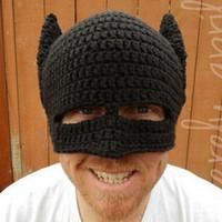 ingrosso cappelli invernali di batman-Beanie Knit Ski Cap lavorato a maglia all'uncinetto Black Batman Winter Warm Hat unisex in lana