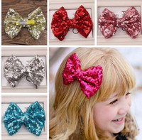 Wholesale Sequin Paillette Ribbon - 30%off 11 Colors 2015 New Baby Girl Hair Clip Fashion Paillette Sequin Bow Girls Hair Bows Girls Hair Accessories Hairpins