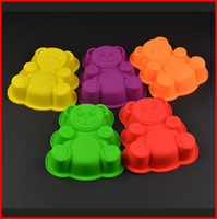Wholesale Silicone Tray Soap Molds - Cute bear silicone cake mold 3 sizes FDA bakeing molds cookie tray chocolate mold soap jelly mold
