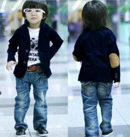 Wholesale babies blazers - 5pcs lot Wholesale 3T - 10 Years Blue Cotton Boys Suits Boys Outwear 100 110 120 130 140 Boys Casual Blazer Kids Blazer Boys Baby Blazer