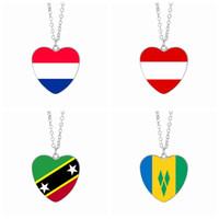 Wholesale Vc Jewelry - Netherlands Flag Pendant Necklaces 25mm Heart Glass Cabochon Austria Saint Kitts VC Flags Festival Women Jewelry Wholesale