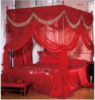 Wholesale Curtains Brackets - Luxury 4 Post Bed Curtain Canopy Mosquito Net Cal King Queen Twin-XL(no Bracket)